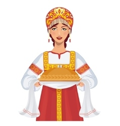 Woman in russian clothes with round loaf vector