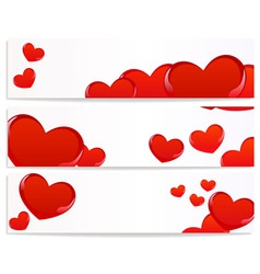 banners with hearts vector image