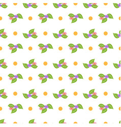 flower and dot seamless pattern vector image