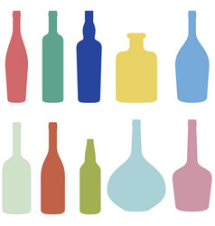 Set of wine bottles vector