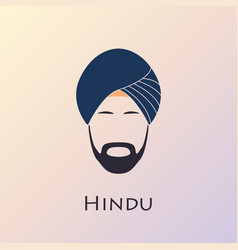 Blue turban headdress and mustache indian man vector
