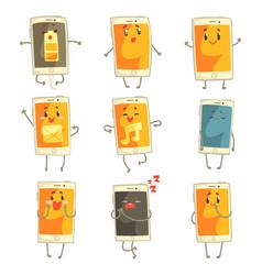 cute cartoon emoticon phones with funny faces set vector image