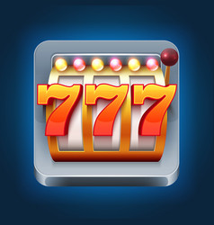 Casino smartphone game icon with 777 win vector