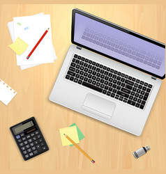 office workplace concept laptop computer vector image