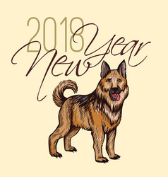 2018 new year card with hand drawn dog celebrate vector