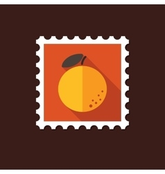 Orange flat stamp with long shadow vector
