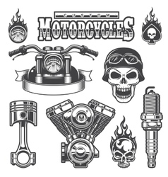 Set of vintage monochrome motorcycle elements vector