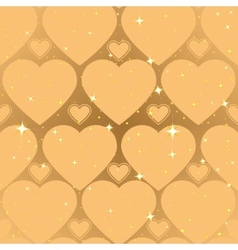 Golden heart shape abstract seamless background vector