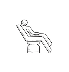 Man sitting on dental chair sketch icon vector