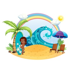 A tan girl at the beach with a surfing board vector image vector image