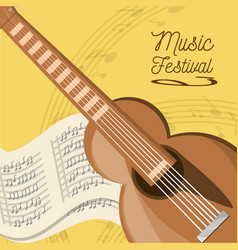 Acoustic guitar with music sheet vector