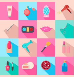 Beauty salon set of cartoon icons colorful vector