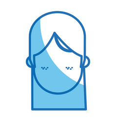 Blue line head girl no face freckles vector