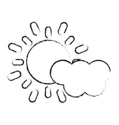 Blurred silhouette image cartoon sun and cloud vector