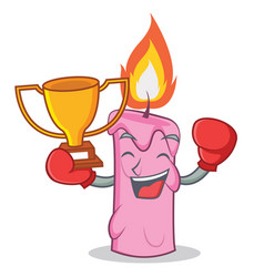 Boxing winner candle character cartoon style vector
