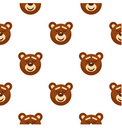 brown teddy bear head pattern seamless vector image