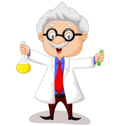 Cartoon scientist holding chemical flask vector