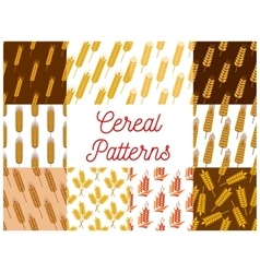 Cereal wheat and rye ears patterns vector