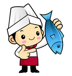 Executive chef character directed towards fish vector