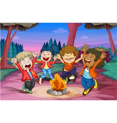 fire camp of kids vector image vector image