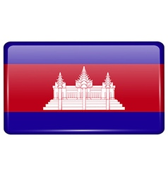 Flags Cambodia in the form of a magnet on vector image vector image