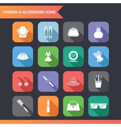 Flat fashion symbols accessories icons set vector