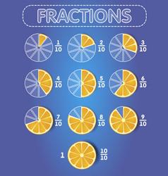 Fractions orange on top vector