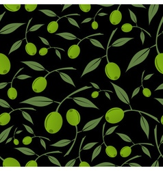Green olives natural seamless dark pattern eps10 vector
