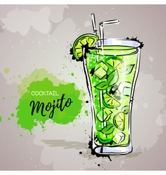 Hand drawn of cocktail mojito vector image