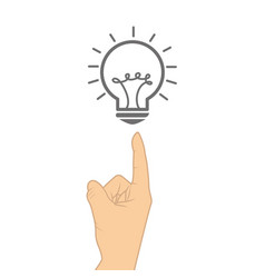 Hand human with bulb light education icon vector