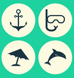 Hot icons set collection of parasol armature vector