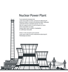 Nuclear power plant and text vector