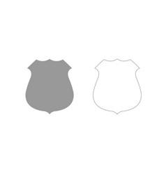 Police badge grey set icon vector