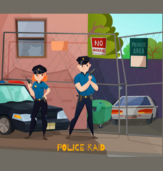 Police raid cartoon composition vector