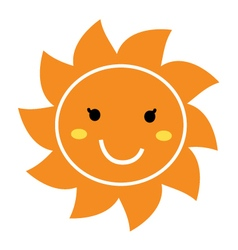 Pretty orange smiling sun mascot clipart vector