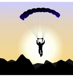 realistic illustration parachutist of sunrise vector image