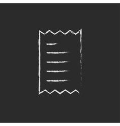 Receipt icon drawn in chalk vector image