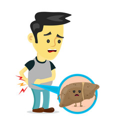 sad sick young man with unhealthy liver vector image vector image