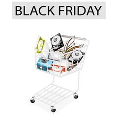 Set of Hardware Computer in Black Friday Shopping vector image vector image