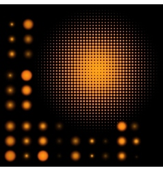 Set of spotted orange halftone eps 8 vector