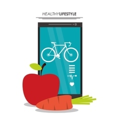 Smartphone bike healthy lifestyle graphic vector