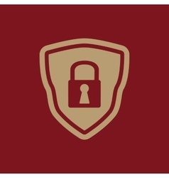 The shield icon security symbol flat vector