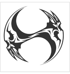 Yin yang skull - black and white tattoo design vector