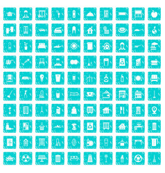 100 cleaning icons set grunge blue vector image vector image