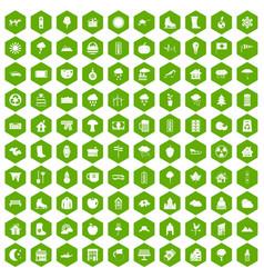 100 country house icons hexagon green vector