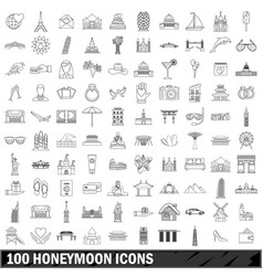 100 honeymoon icons set outline style vector image