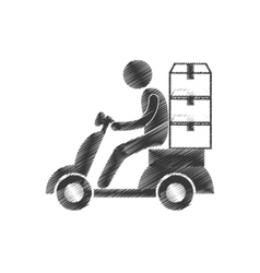 Drawing delivery worker motorcycle boxes figure vector