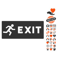 emergency exit icon with love bonus vector image
