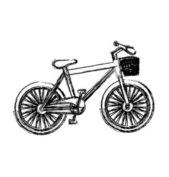 Blurred silhouette sport bike with basket icon vector
