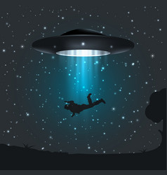 dark night a ufo abducts human vector image
